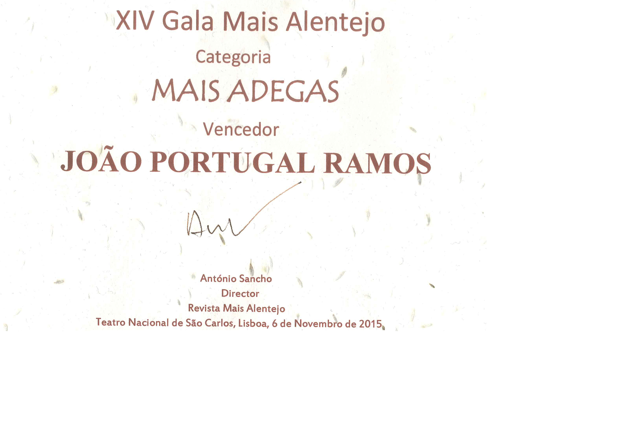 "WINNER OF THE PRIZE ""MAIS ADEGAS"" 2015 2"
